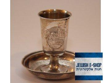 Stříbrný Kidušový pohárek 800/1000 + Stříbrný podnos 900/1000