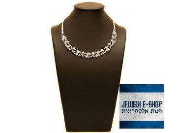 Izraelský stříbrný náhrdelník Kleopatra se zirkony Ag 925/1000