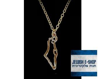 Přívěsek obrys Izraele - zlatá barva