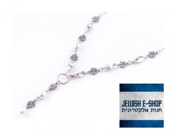 Izraelský stříbrný náhrdelník s kytičkami Ag 925/1000