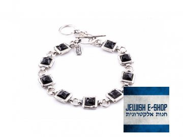 Izraelský stříbrný náramek s černým onyxem 925/1000
