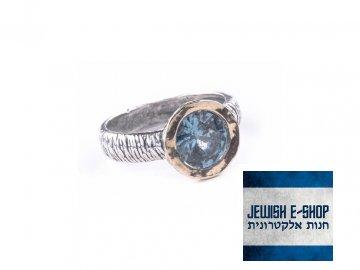Izraelský prsten s modrým topazem Ag 925/1000