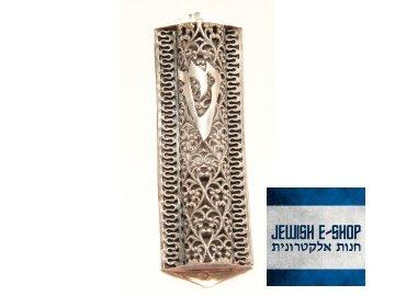 Filigránová stříbrná Mezuza z Izraele - 925/1000 - 8 cm