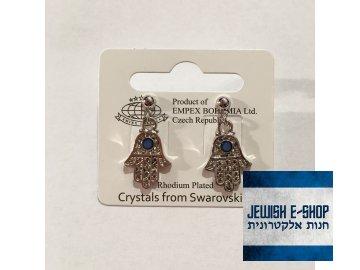 Náušnice chamsičky se skleněným kamínkem, různé barvy  Crystals from Swarovski