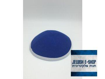 Modrá látková kippa - jarmulka s lemem