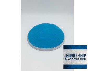 Tyrkysová látková kippa - jarmulka s lemem
