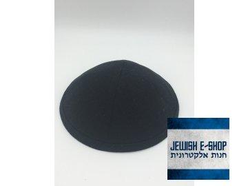 Černá látková kippa - jarmulka s lemem