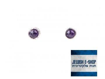 Izraelské stříbrné náušnice s ametysty Ag 925/1000