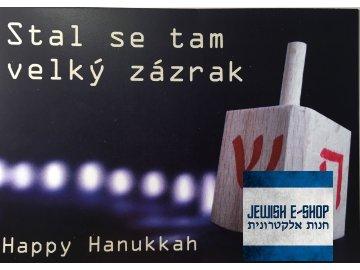 Přání na Chanuku, pohlednice CZ/ENG - Happy Hanukkah