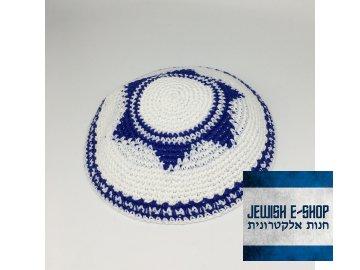 Háčkovaná jarmulka s modrou Davidovou hvězdou
