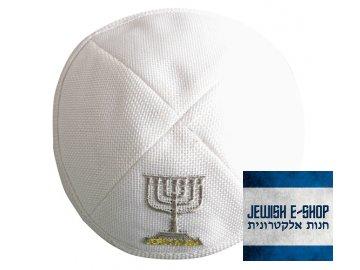 Lněná bílá kippa - jarmulka s menorou a nápisem JERUSALEM, 17 cm