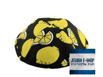 Kippa - jarmulka černá s citronky, 20 cm