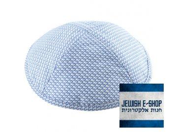 Elegantní kippa - jarmulka se světle modrým vzorem, 17 cm