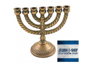 Malá menora z Izraele, 11 cm - hliník/mosaz