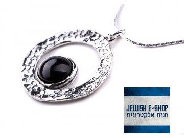 Izraelský stříbrný náhrdelník s onyxem Ag 925