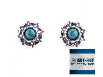 Izraelské stříbrné náušnice s tyrkysy Ag 925/1000