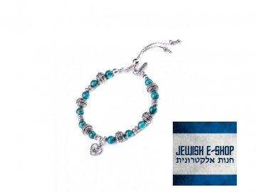 Izraelský stříbrný náramek s tyrkysy Ag 925