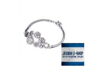 Izraelský stříbrný náramek s kytičkami Ag 925