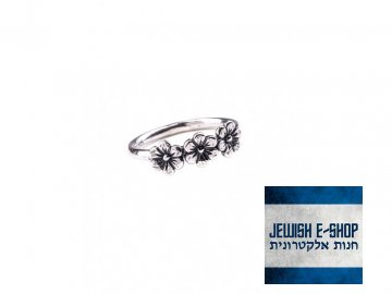Izraelský stříbrný prsten s kytičkami - Velikost 9 Ag 925