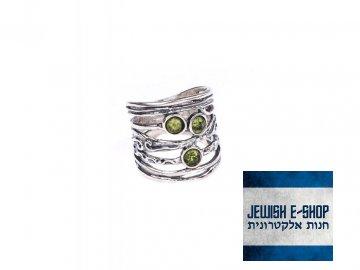 Izraelský stříbrný prsten s peridotem - Velikost 7 Ag 925