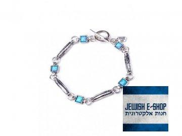 Izraelský stříbrný náramek s opály Ag 925