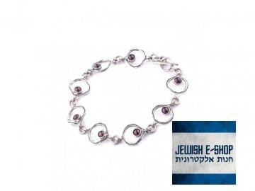 Izraelský stříbrný náramek s granáty Ag 925
