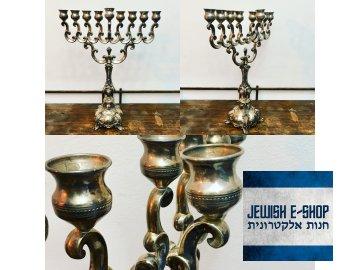 Překrásná Chanukija silver Ag 925/1000 42,5 cm vysoká - HAZORFIM Israel