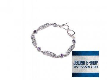 Izraelský stříbrný náramek s ametysty Ag 925/1000