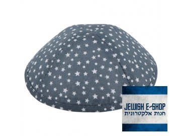 Tmavošedá kippa - jarmulka s hvězdičkami a puntíky, 19 cm