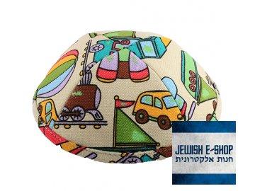 Kippa - jarmulka dopravní prostředky, 21 cm