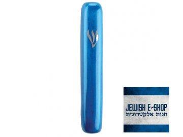 Hliníková mezuza z Izraele, modrá, 10 cm