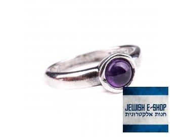 Stříbrný prsten s ametystem - Velikost 8