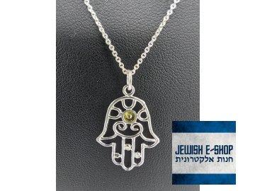 Chamsa se zeleným zirkonem - stříbrná Ag 925/1000 - JEWISHOP design