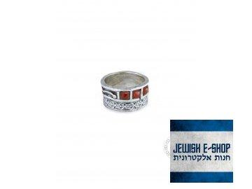 Stříbrný prsten s karneoly - Velikost 7