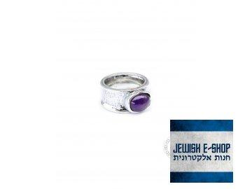 Stříbrný prsten s ametystem - Velikost 7