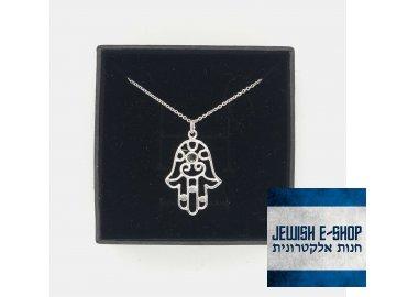 Chamsa s černým zirkonem - stříbrná Ag 925/1000 - JEWISHOP design