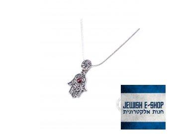 Stříbrný náhrdelník s chamsou a granátem