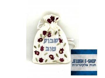 Vyšívaný hedvábný sáček na koření Havdalu s hřebíčkem – Shavua Tov