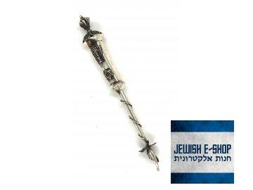 JAD - stříbrné ukazovátko na Tóru s korunkou - 17 cm dlouhé