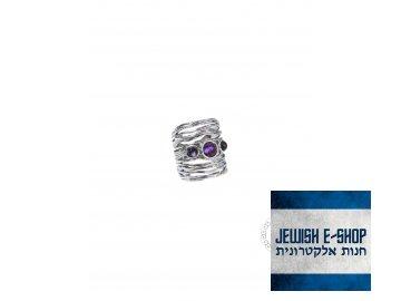 Stříbrný prsten s ametysty - Velikost 8