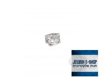 Stříbrný prsten se zlatým srdíčkem - Velikost 7
