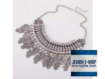 Židovský náhrdelník štěstí - CHAMSA stříbrná