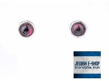 Granátové náušnice - pecky Ag 925/1000