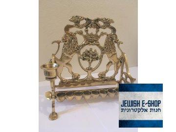 Krásná mosazná Chanukije s lvy - židovský svícen