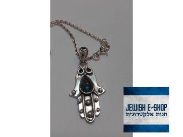 Stříbrná chamsa s labradoritem Ag 925/1000  - polodrahokam modrošedý
