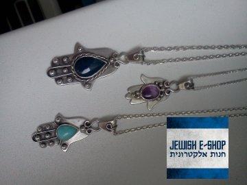 stříbrná Chamsa s Ametystem - ovál Ag 925/1000
