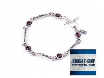 Stříbrný náramek s granáty Ag 925/1000  - made in Israel