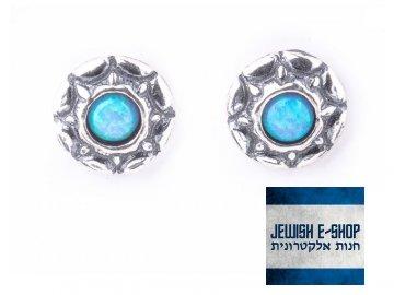 Izraelské stříbrné zdobené pecky s modrozeleným opálem Ag 925/1000