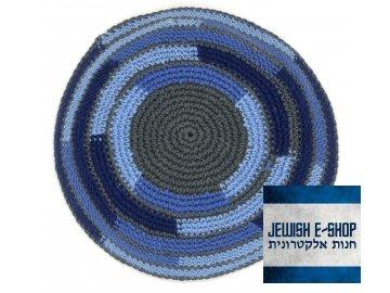 Háčkovaná jarmulka - kippa modrá