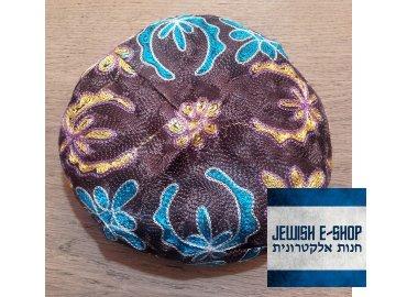 Extra velká jarmulka se vzorem  hnědá vyšívaná